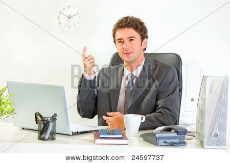 Sitting At Office Desk Modern Businessman Got Idea