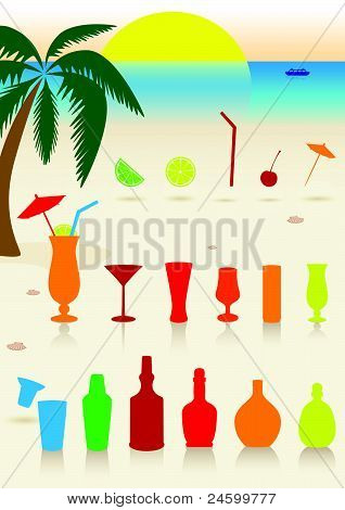 Tropical drinks set