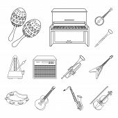 Musical Instrument Outline Icons In Set Collection For Design. String And Wind Instrument Vector Sym poster