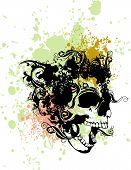Постер, плакат: Журчать череп гранж иллюстрации