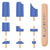 Vector Illustration Logo For Natural Blueberry Ice Cream On Stick. Ice Cream Pattern Consisting Of S poster