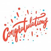 Congratulation Hand Written Lettering For Congratulations Card, Greeting Card, Invitation, Poster An poster