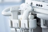 Various Ultrasonic Sensors Are Inserted Into The Holders Of The Ultrasound Machine poster