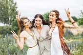 Summer Holidays, Travel And People Concept -three Beautiful Cheerful Hippie Girls, Best Friends, Tre poster