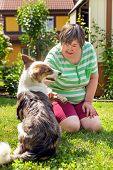 Mentally Disabled Woman With A Second Woman And A Companion Dog, Concept Learning By Animal Assisted poster