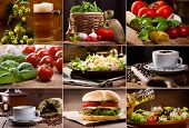 stock photo of caesar salad  - collage of still life of different food and drinks - JPG