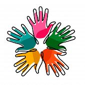 Human Hands Drawn In Single Continuous Line. Concept Idea For Community Help, Charity Project Or Soc poster