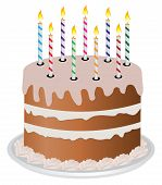 stock photo of birthday-cake  - Vector illustration of a cake with candles - JPG