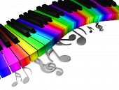 stock photo of rainbow piano  - 3d rendering conceptual image Colorful piano keyboard - JPG