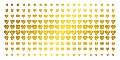 Cardiology Icon Gold Colored Halftone Pattern. Vector Cardiology Pictograms Are Arranged Into Halfto poster