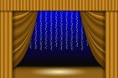 Theatrical Scene. Theater Curtain, Lights Garlands And Searchlight Beam. Scene Background. Vector Il poster