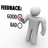 A man presses a button beside the word Good when giving feedback and opinions on a touch screen aski