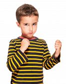 picture of hematoma  - Little bully boy with black eye in fighting stance isolated on white - JPG