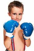Little Bully Boy With Black Eye In Boxing Gloves Wet poster