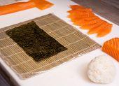 Making Sushi Rolls. Sushi Master, Cutting Sushi Rolls. poster