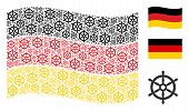 Waving Germany Flag. Vector Boat Steering Wheel Design Elements Are Arranged Into Geometric German F poster