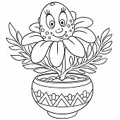 Daisy. Chamomile Flower In A Pot. Coloring Page. Colouring Picture. Coloring Book. poster