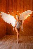 Beautiful Woman In Lingerie With Angel Wings poster