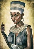 Portrait Of An Egyptian Queen With An Evil Face. 3d Illustration. poster