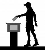Young Man Voter Silhouette By Voting For Election. All The Silhouette Objects And Background Are In  poster