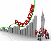 The Graph Of Population Growth. Graph Of Rapid Growth With Red Word Population And Rocket. 3d Illust poster