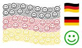 Waving German Flag. Vector Glad Smiley Pictograms Are United Into Geometric Germany Flag Collage. Pa poster