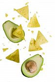 Mexican Food Concept, Guacamole And Nachos Snack, Avocado And Tortilla Chips On White Background, Is poster