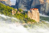 Mountain Scenery With Meteora Rocks And Monastery, Landscape Place Of Monasteries On The Rock. poster