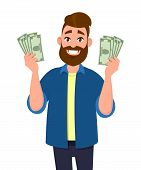 Young Man Holding Cash In Hands. Happy Man Holding Bank Notes In Hands. poster