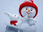 Cheerful snowman and rabbit shows hat trick. The magician conjured a rabbit out of a hat poster