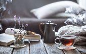 Still Life Tea Drinking In The Living Room poster