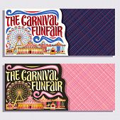 Vector Banners For Carnival Funfair With Copyspace, Tickets With Circus Big Top, Merry Go Round Carr poster
