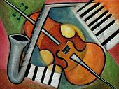 foto of music instrument  - Painting of Musical instruments Sax violin and piano - JPG