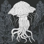 Jellyfish Drawn In Line Art Style. Ocean Background In Black And White Colors On Chalkboard. Colorin poster