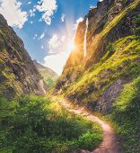 Himalayan Mountains Covered Green Grass, High Waterfall, Beautiful Path, Green Trees, Blue Sky With  poster