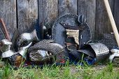Armor And Weapons Of Participants In The Competition For The Medieval Battle. Тhеrе Are Chain Armor, poster