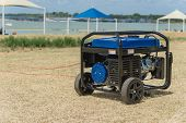 Portable Gasoline Power Generator And High Peak Frame Tent poster