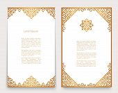 Vintage Gold Frames With Swirly Border Pattern, Decorative Scrollwork Ornaments, Golden Embellishmen poster