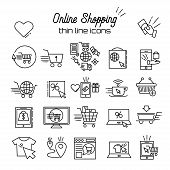 Online Shopping Vector Line Icons. E-commerce Pictogram Symbol Outline Thin Icon Discount, Shopping  poster