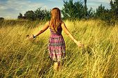 Young Beautiful Girl Walking In The Field And Runs Hand Through The High Dry Grass At Summertime. poster