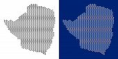 Dotted Zimbabwe Map. Vector Geographic Map On White And Blue Backgrounds. Vector Mosaic Of Zimbabwe  poster