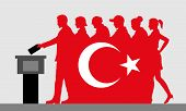 Turkish Voters Crowd Silhouette Like Turkey Flag By Voting For Election. All The Silhouette Objects, poster