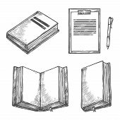 Book, Notebook, Pen And Clipboard Sketch Set. Open Book With Empty Page, Ballpoint Pen And Paper Cli poster