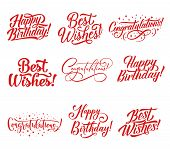 Congratulations Hand Lettering For Greeting Card And Invitation Template. Happy Birthday And Best Wi poster