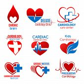 Cardiology Medicine And Cardiac Surgery Icon For Health Care Design. Heart, Heartbeat Pulse Line And poster