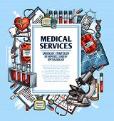 Medical Service Sketch Poster For Cardiology, Surgery And Dentistry, Orthopedics And Ophthalmology M poster