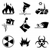 Disaster Strikes. Set Of Disaster Related Vector Icons Contains Such Icons As Earthquake, Tsunami, V poster