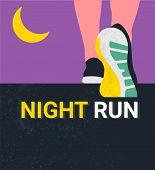 Athlete Runner Feet Running Or Walking On Road . Nigth Run Marathon. Closeup Illustration Vector poster