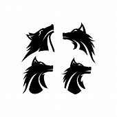 Wolf Silhouette Isolated On White Background Vector Illustration. Wolf Head Vector Graphic Emblem.ep poster