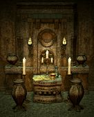 stock photo of pentagram  - a room with altar in fantasy style - JPG